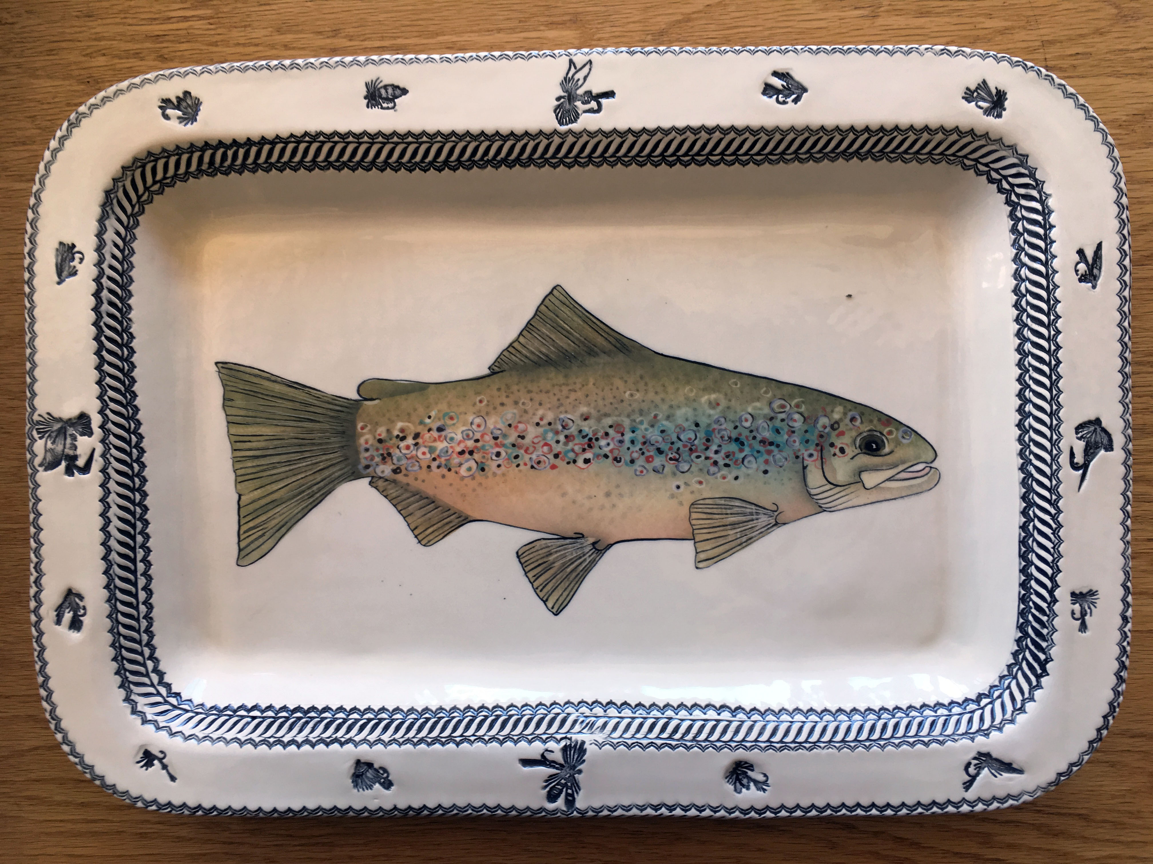 Handmade, Hand-painted Trout Platter by EJ Harpham, Retail $175